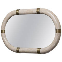 Oval Tessellated Stone Mirror by Maitland Smith, 1980s