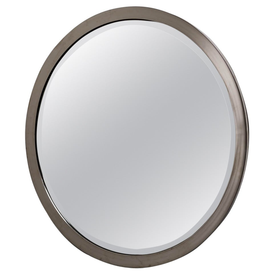 Circular Chrome Framed Karl Springer Style Mirror, 1980s For Sale at ...