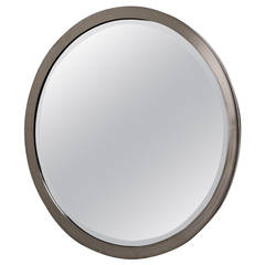 Circular Chrome Framed Karl Springer Style Mirror, 1980s