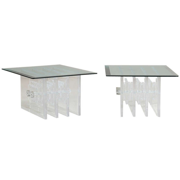 Pair of Verano Designed Lucite and Glass Side Tables, 1970s