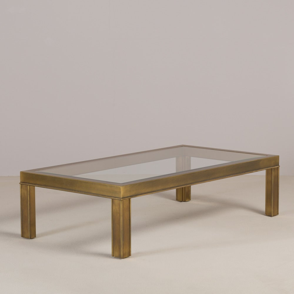 Mastercraft Style Rectangular Brass And Glass Coffee Table 1970s At 1stdibs
