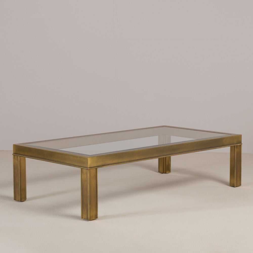 Mastercraft Style Rectangular Brass And Glass Coffee Table