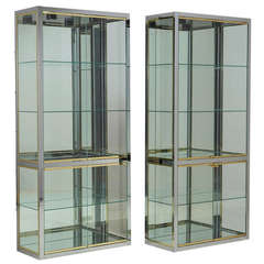Pair of DIA Chrome and Brass Glazed Cabinets, 1980s