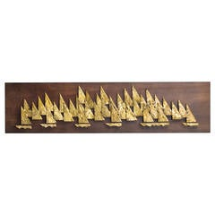 Rare Brass Metal Sailboat Wall Sculpture by Peter Pepper, 1960s