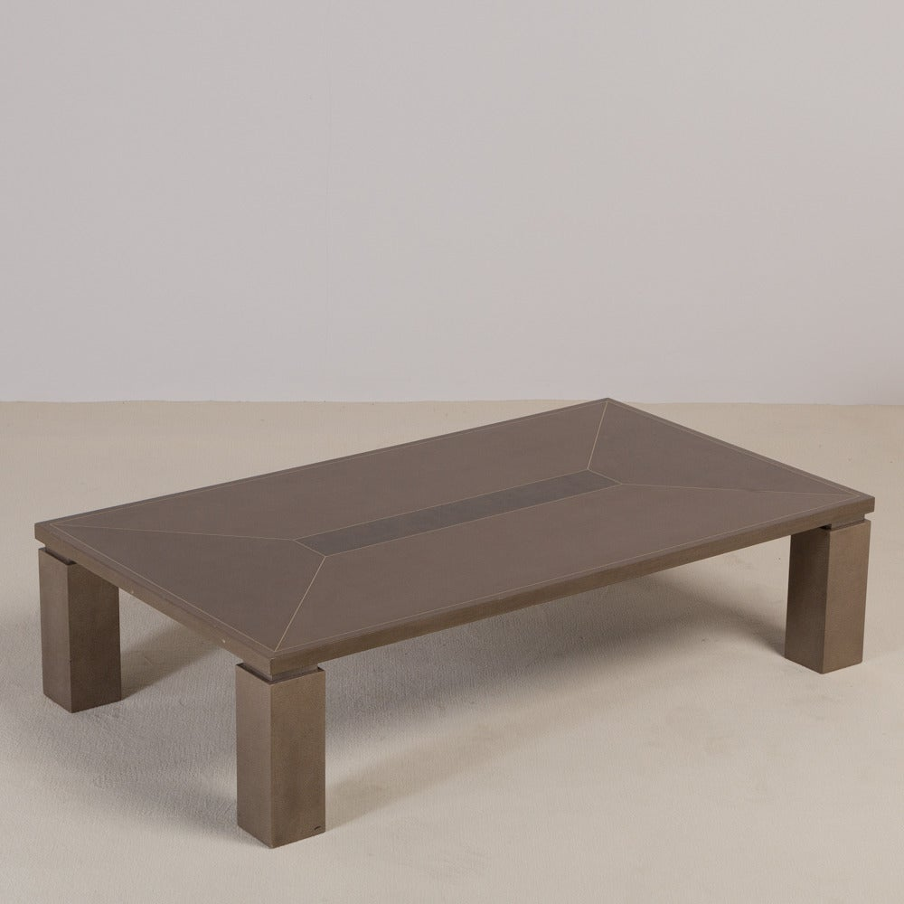 faux shagreen rectangular coffee table 1980s for sale at 1stdibs