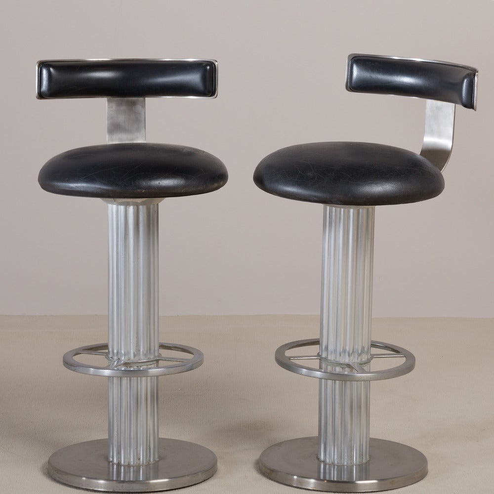 Pair Of Steel And Aluminium Swivel Bar Stools Usa 1980s