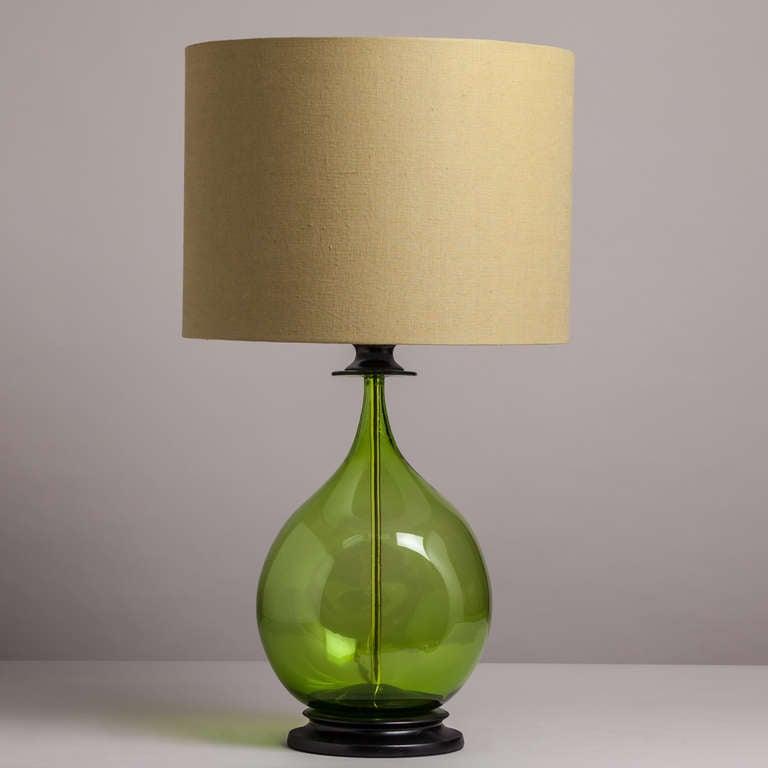A Single Handblown Blenko Green Glass Table Lamp 1970s image 2