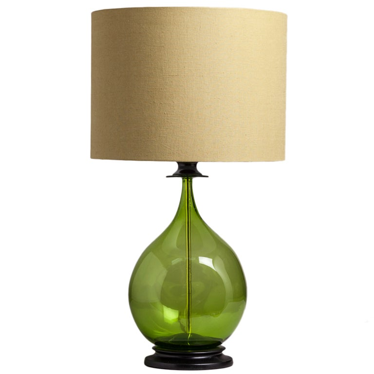 A Single Handblown Blenko Green Glass Table Lamp 1970s At