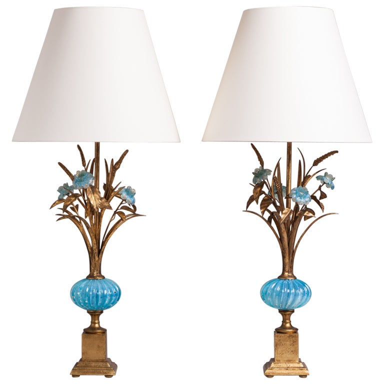pair of turquoise murano glass and gilt table lamps 1960s at 1stdibs. Black Bedroom Furniture Sets. Home Design Ideas