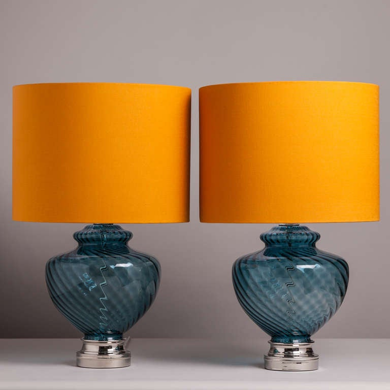 A Large Pair of Blue Murano Glass Table Lamps with Nickel Plated Mounts 1960s