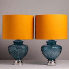 A Large Pair of Blue Murano Glass Table Lamps 1960s image 2