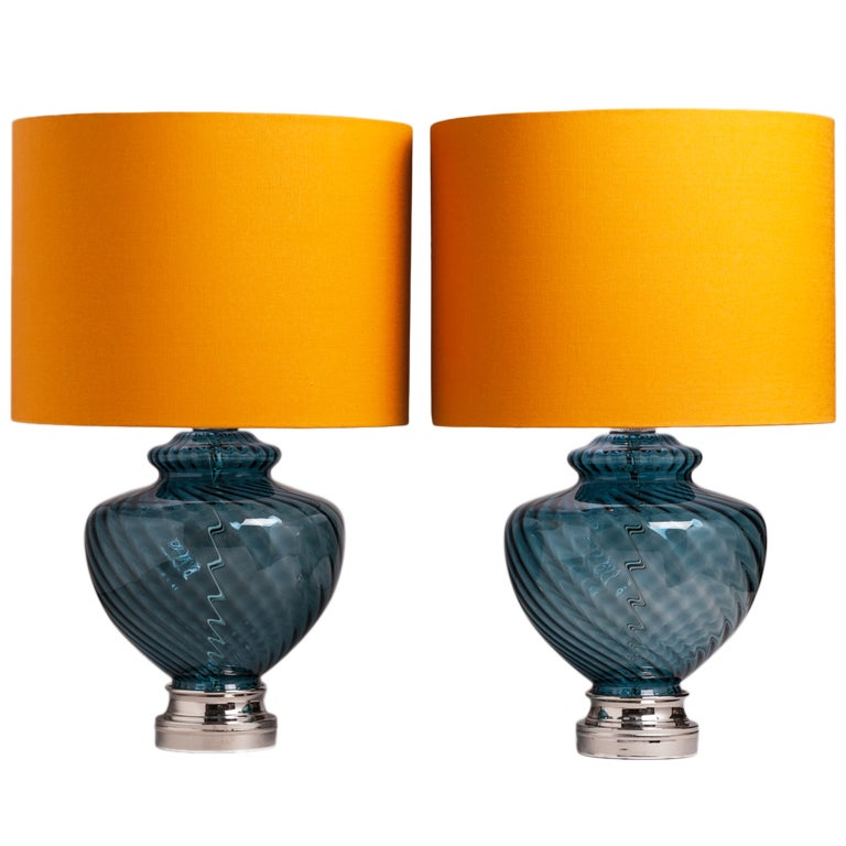 A Large Pair of Blue Murano Glass Table Lamps 1960s For Sale