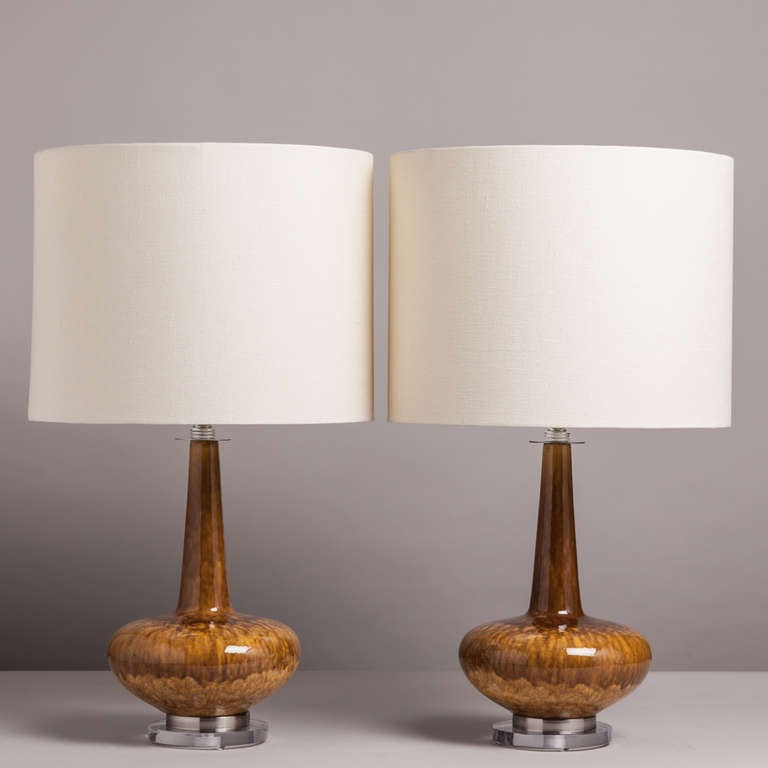 an unusual pair of dripglaze ceramic table lamps 1960 70s
