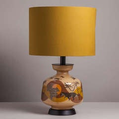A Large Reverse Painted Panther Glass Table Lamp 1960s image 2
