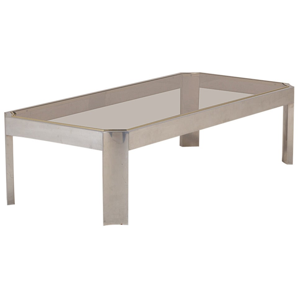 Willy rizzo style french aluminium and brass coffee table for Table willy rizzo