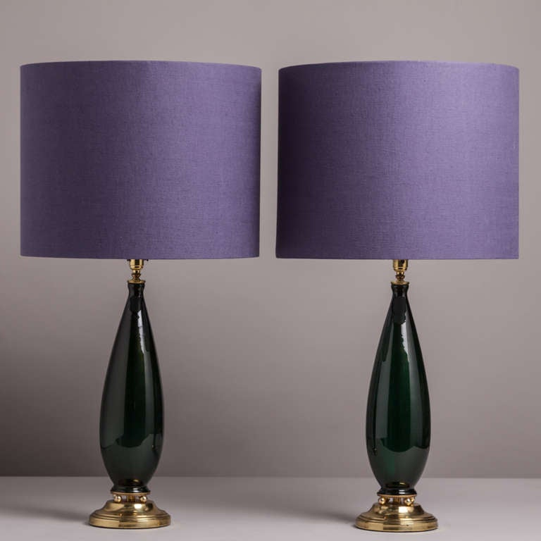rare pair of deep green glass table lamps 1970s at 1stdibs. Black Bedroom Furniture Sets. Home Design Ideas