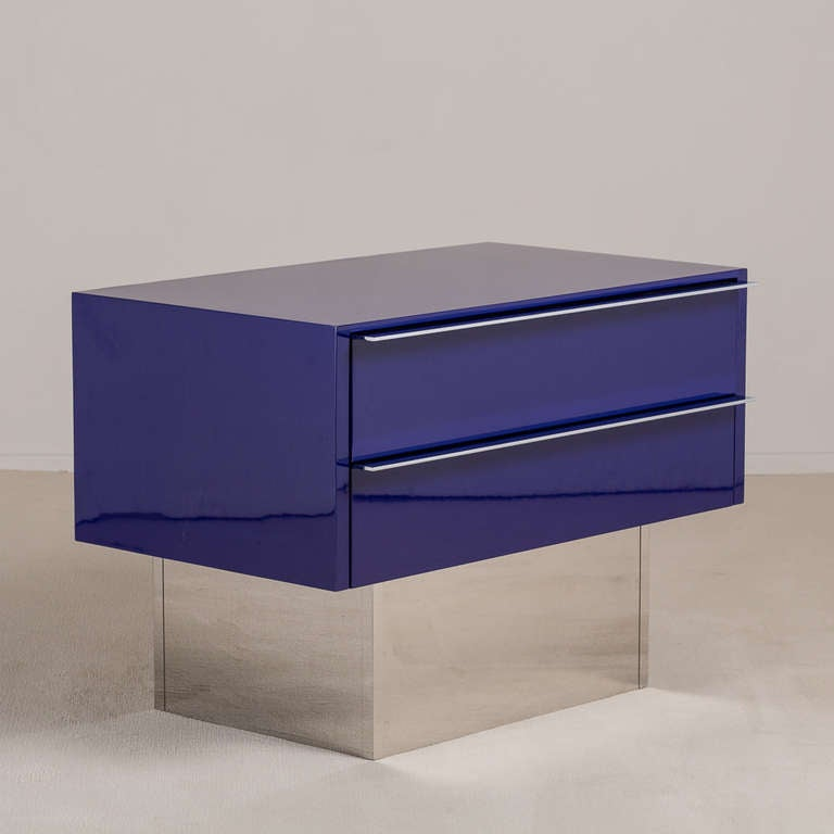 Pair of Two-Drawer Lacquered and Steel Side Cabinets 1970s 3
