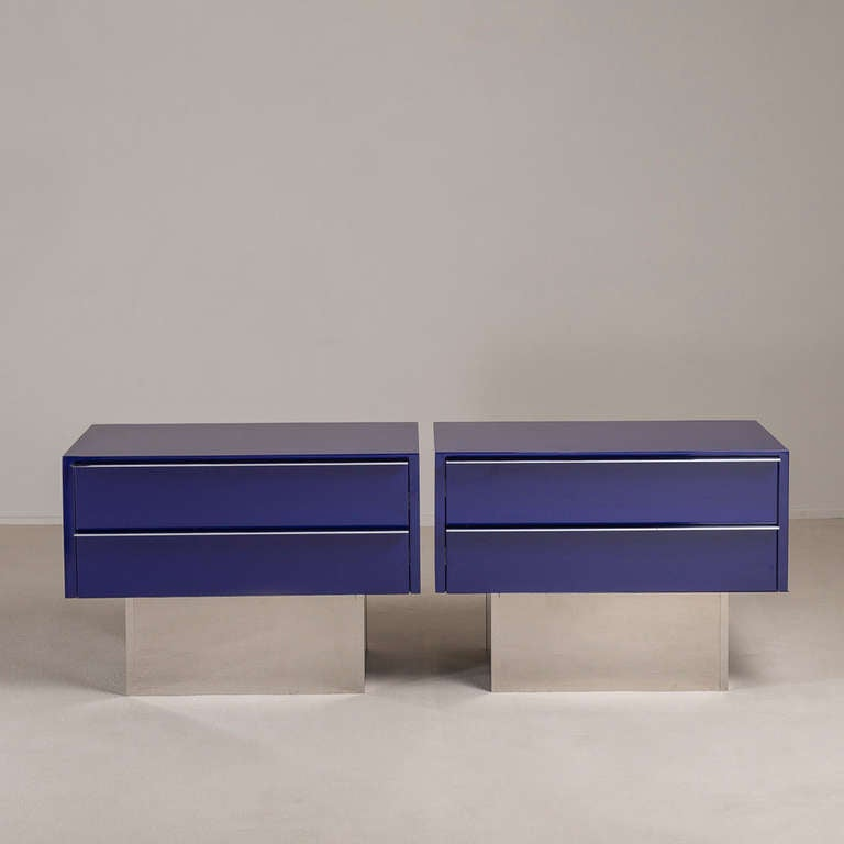 Pair of Two-Drawer Lacquered and Steel Side Cabinets 1970s 2