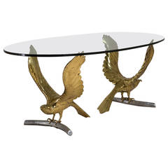Alain Chervet Brass and Cast Bronze Eagle Based Table, 1980s