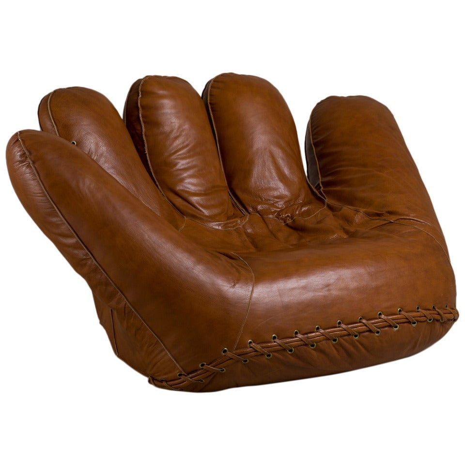 Large Leather Baseball Glove Sofa For Poltronova 1970s