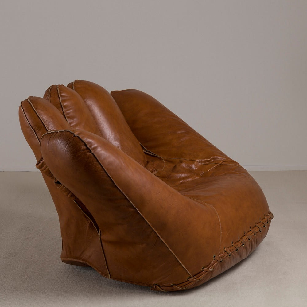 Large Leather Baseball Glove Sofa For Poltronova 1970s Butterscotch Colored Leather  Sofa