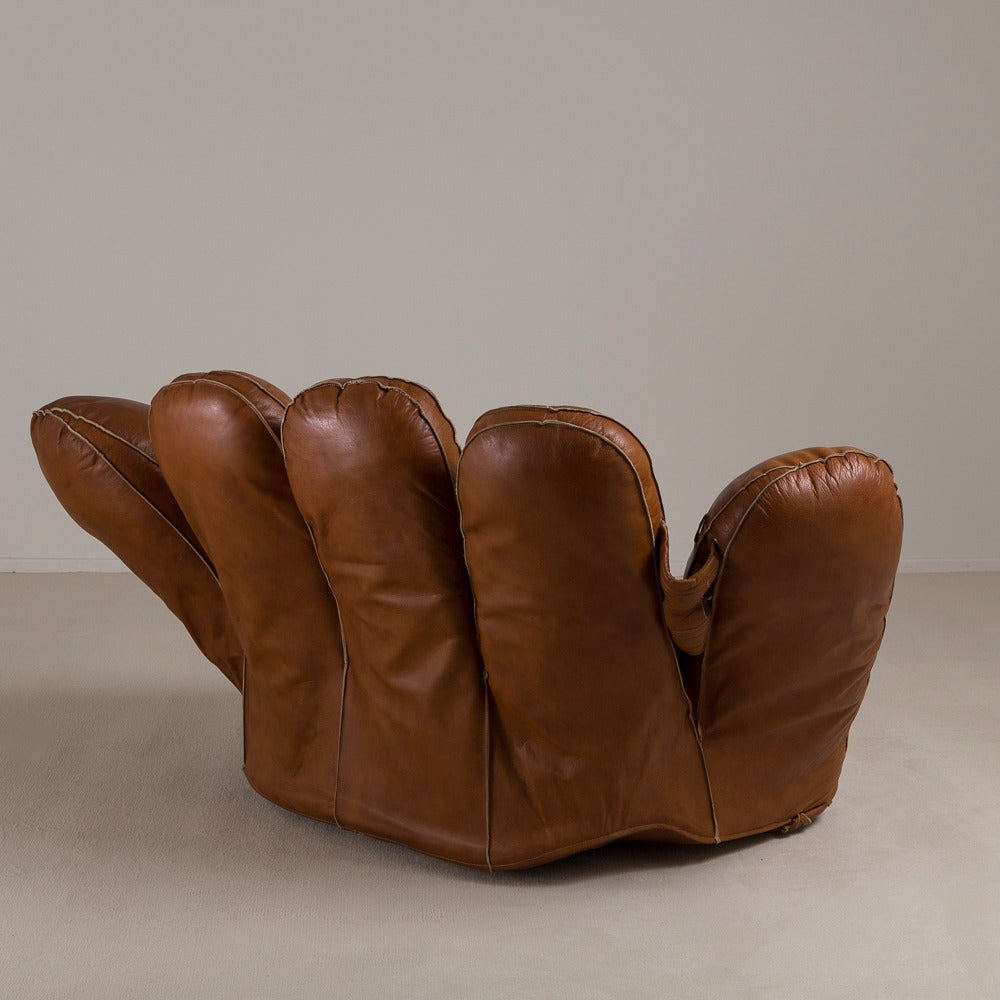 Large leather baseball glove sofa for poltronova 1970s Baseball sofa