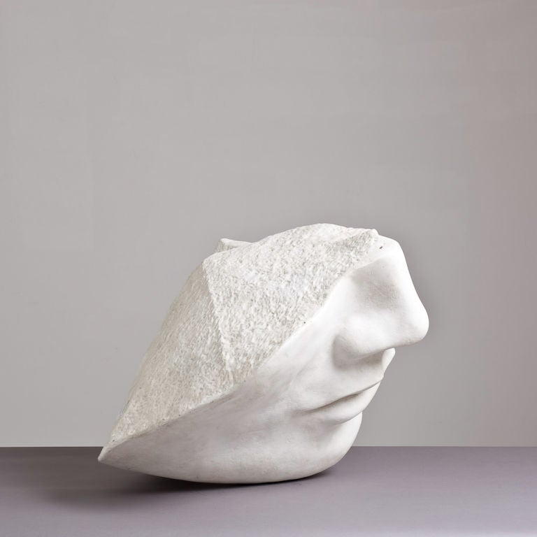A 1980s Overlife sized Plaster Sculpture of a Face image 2