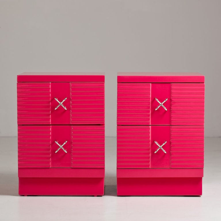 A Pair of 1950s George Nelson Designed Pink Lacquered Two Drawer End Cabinets for Herman Miller with Nickel Plated Handles USA