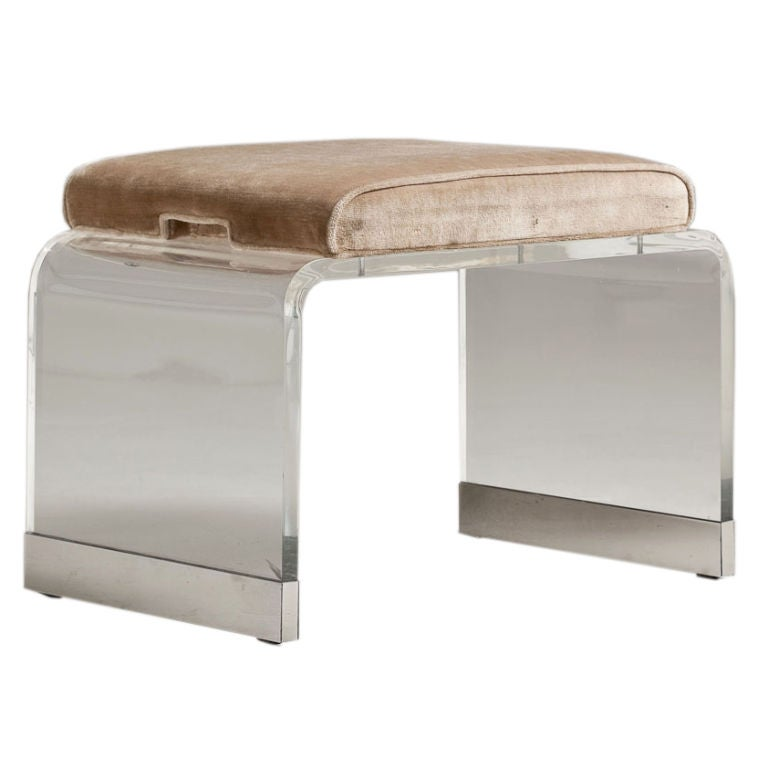 A 1970s Small Lucite Stool With Fawn Upholstery At 1stdibs
