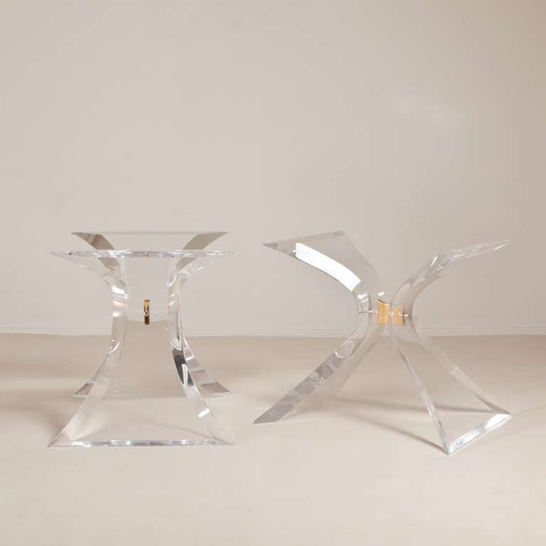 A Pair Of Lion In Frost Butterfly Lucite Table Bases 1960s