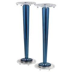 Pair of Blue and Clear Lucite Tapered Pedestals, 1970s