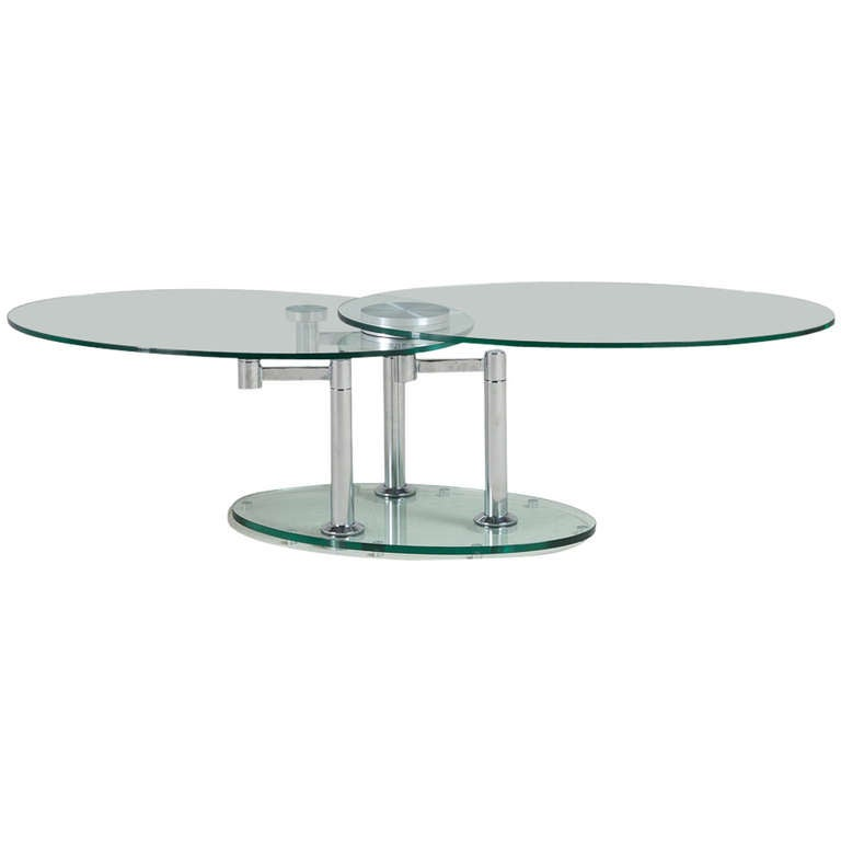 A Nickel And Glass Swivel Coffee Table By Dia 1980s At 1stdibs