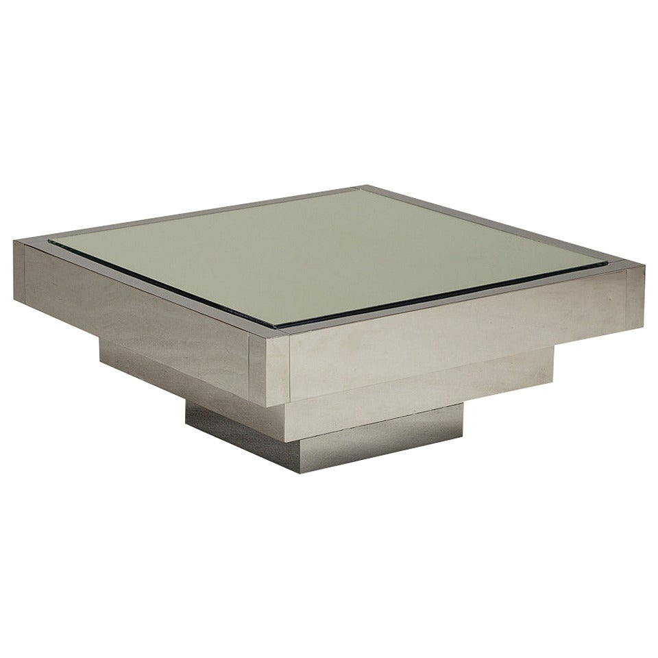 A Nickel Plated Square Coffee Table Usa 1970s At 1stdibs