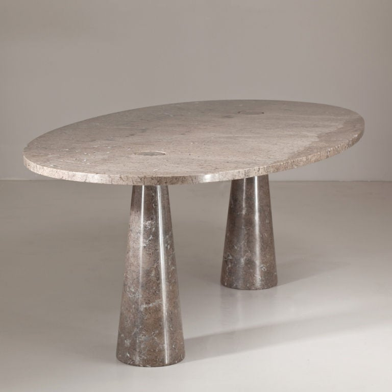 an unusual oval marble dining table by angelo mangiarotti at 1stdibs. Black Bedroom Furniture Sets. Home Design Ideas