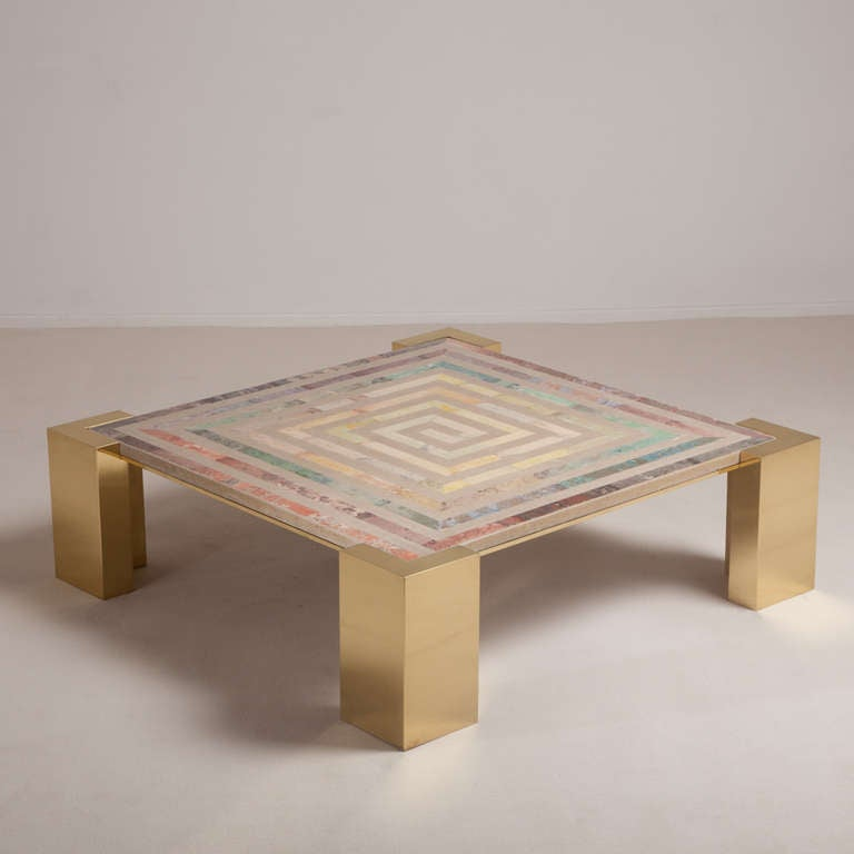A Superb Italian Brass And Composite Marble Coffee Table At 1stdibs