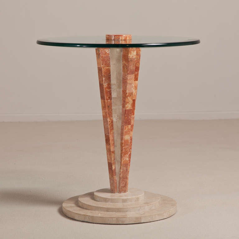Art Deco Style Tessellated Stone Pedestal Side Table 2