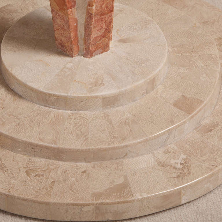 Art Deco Style Tessellated Stone Pedestal Side Table 5