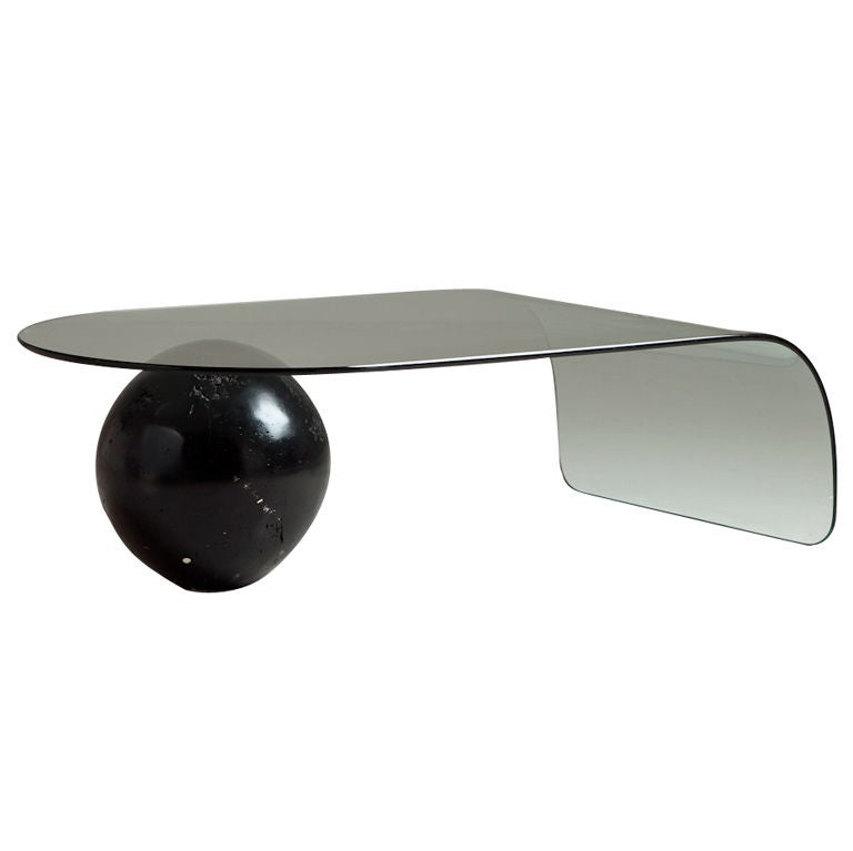 A Bent Glass Coffee Table With Large Sphere Base 1