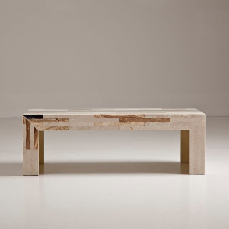 A small italian marble inlaid rectangular coffee table at for Marble top coffee table rectangle
