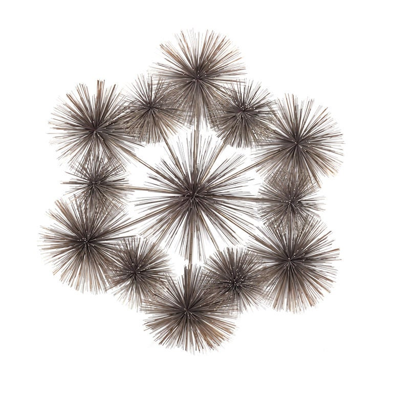 Metal Urchin Wall Decor : A large rare urchin shaped metal wall sculpture by curtis