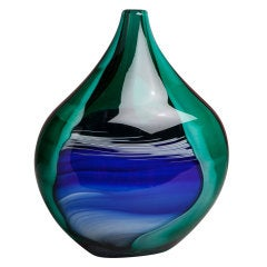 A Rare Toso Vase in Marbled Blue, Green, Red and White