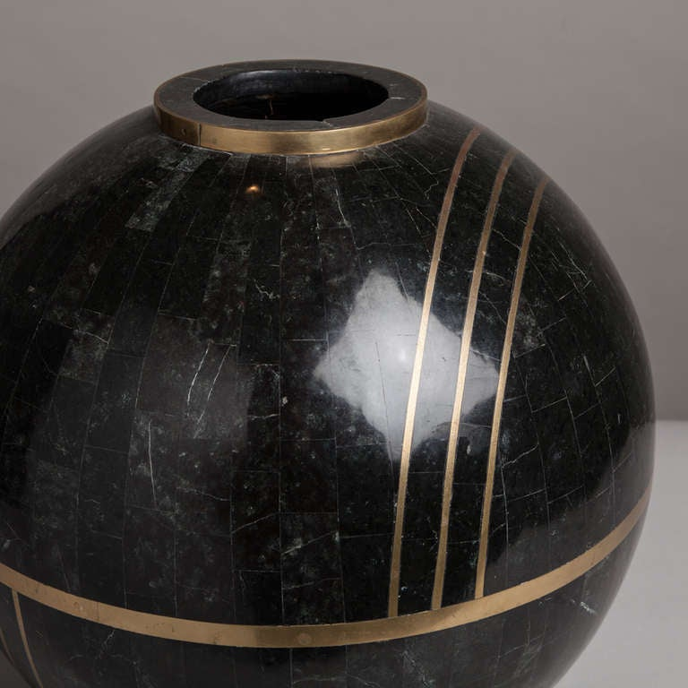 Large Tessellated Stone Bowl by Maitland Smith 1980s In Excellent Condition In London, GB