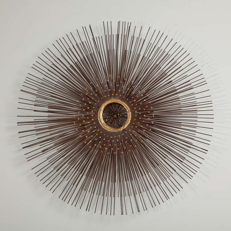 a brass and bronze patina starburst wall sculpture 1970s at 1stdibs. Black Bedroom Furniture Sets. Home Design Ideas