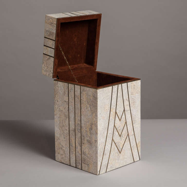 A Maitland Smith designed Tessellated Stone Box 1980s In Excellent Condition In London, GB