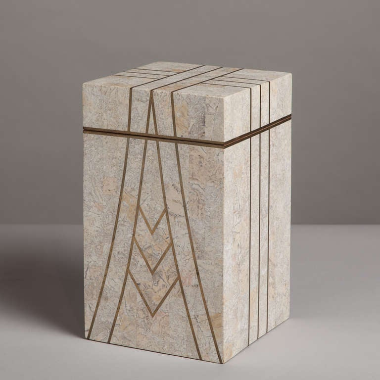 A Maitland Smith designed Art Deco Style Tessellated Stone Hinged Box with Brass Inlay Detail 1980s