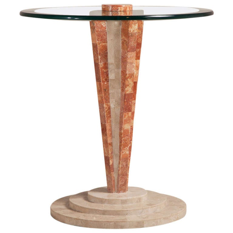 Art Deco Style Tessellated Stone Pedestal Side Table 1