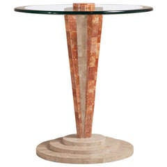 Art Deco Style Tessellated Stone Pedestal Side Table
