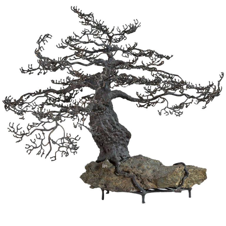 Superb Sculpture in Bronze of a Bonsai Oak Tree in Winter