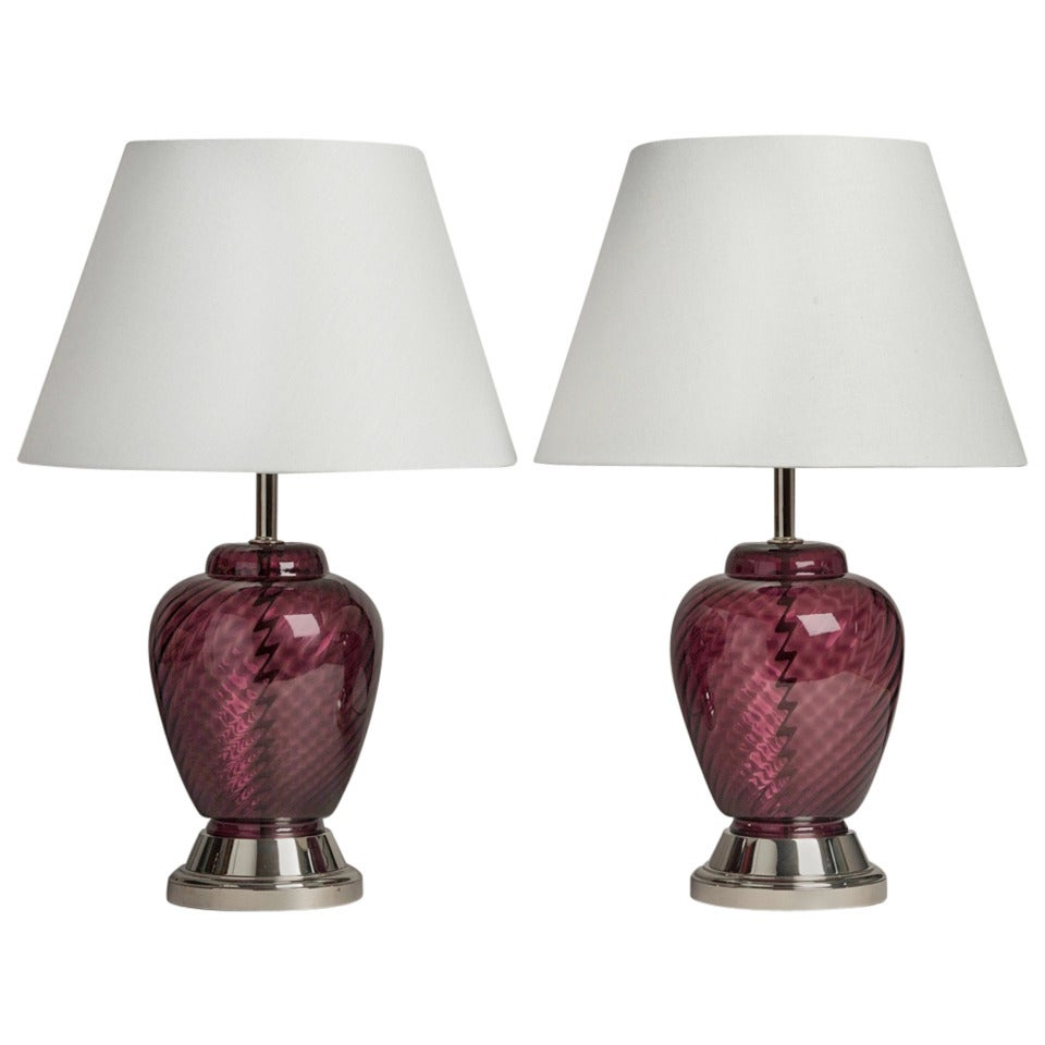 pair of deep amethyst blown glass table lamps 1970s at 1stdibs. Black Bedroom Furniture Sets. Home Design Ideas