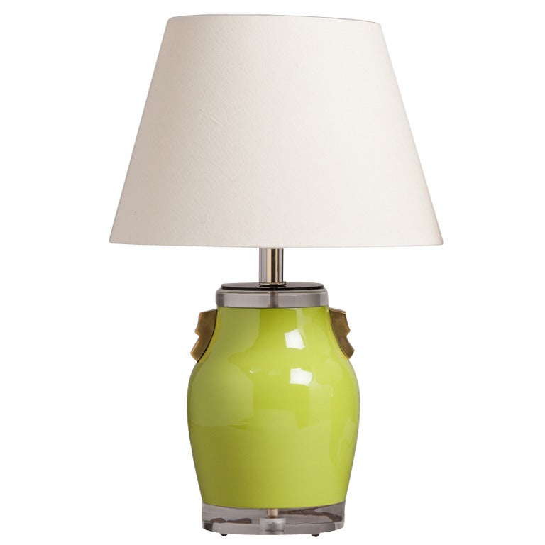 Single Lime Green Ceramic Table Lamp 1970s